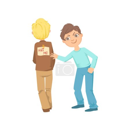 Illustration for Boy Pinning Joke Poster On Another Kids Back Teenage Bully Demonstrating Mischievous Uncontrollable Delinquent Behavior Cartoon Illustration. Cute Big-Eyed Child Vector Character Behaving Aggressively - Royalty Free Image