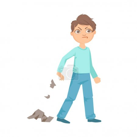 Illustration for Boy Littering Teenage Bully Demonstrating Mischievous Uncontrollable Delinquent Behavior Cartoon Illustration. Cute Big-Eyed Child Vector Character Behaving Aggressively And Bullying Other Children. - Royalty Free Image