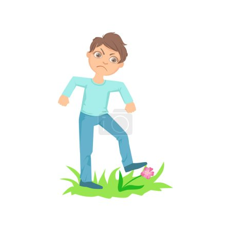 Boy Walking On Lawn Grass Breaking Flowers Teenage Bully Demonstrating Mischievous Uncontrollable Delinquent Behavior Cartoon Illustration