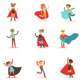 Children Pretending To Have Super Powers Dressed In Superhero Costumes With Capes And Masks Collection Of Smiling Characters