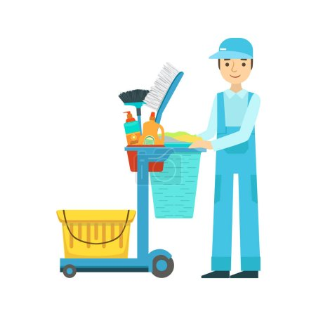 Man With Cart Filled With Special Equipment And Tools, Cleaning Service Professional Cleaner In Uniform Cleaning In The Household