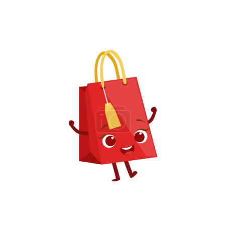 Paper Shopping Gift Bag Kids Birthday Party Happy Smiling Animated Object Cartoon Girly Character Festive Illustration