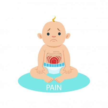 Little Baby Boy In Nappy Having Belly Pain, Part Of Reasons Of Infant Being Unhappy And Crying Cartoon Illustration Collection