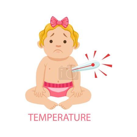 Illustration pour Petite fille bébé en couches avec thermomètre a la fièvre, une partie des raisons pour lesquelles le nourrisson est malheureux et pleure Cartoon Illustration Collection. Infantile et parentalité Info Dessins vectoriels avec explications - image libre de droit