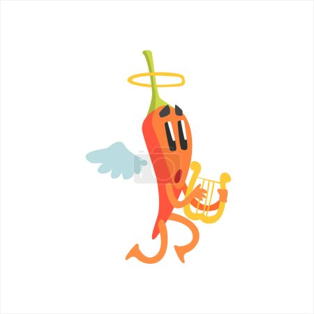 Angel Red Hot Chili Pepper Humanized Emotional Flat Cartoon Character With Wings And Halo Playing Lyre