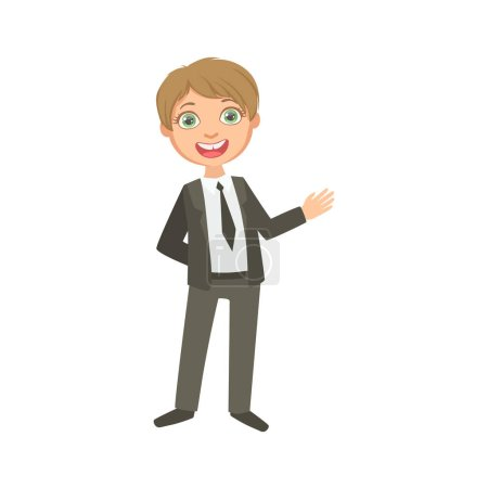 Boy In Classic Black Suit Happy Schoolkid In School Uniform Standing And Smiling Cartoon Character