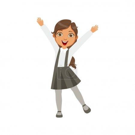Girl In Black Skirt With Suspenders Happy Schoolkid In School Uniform Standing And Smiling Cartoon Character