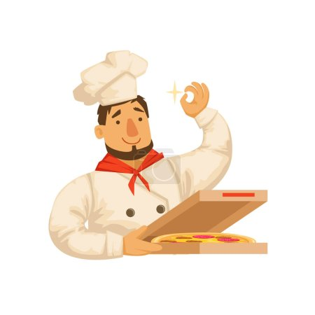 Chef Packing Pizza In Box,Part Of Italian Fast Food Cuisine Restaurant Takeout Delivery Service Collection Of Illustrations