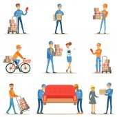 Different Delivery Service Workers And Clients Smiling Couriers Delivering Packages And Movers Bringing Furniture Set Of Illustrations