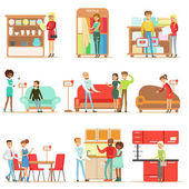 Smiling Shoppers In Furniture Shop Shopping For House Decor Objects With Help Od Professional Department Store Sellers