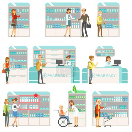 Illustration for Smiling People In Pharmacy Choosing And Buying Drugs And Cosmetics Set Of Drugstore Scenes With Pharmacists And Clients. Vector Cartoon Illustrations With Cute Characters Shopping And Selling - Royalty Free Image