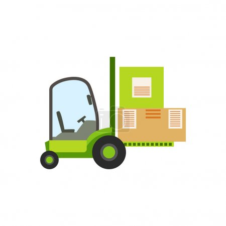 Illustration for Green Forklift Warehouse Car Lifting The Paper Box Packages, Storeroom Machinery Without Driver. Part Of Storehouse And Logistic Service Depository Collection Of Vector Illustrations. - Royalty Free Image