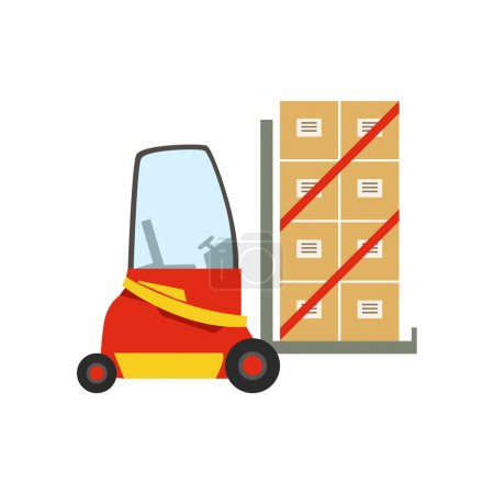 Illustration for Red Forklift Warehouse Car Lifting The Paper Box Packages, Storeroom Machinery Without Driver. Part Of Storehouse And Logistic Service Depository Collection Of Vector Illustrations. - Royalty Free Image