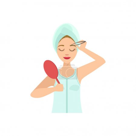 Illustration for Woman Shaping Eyebrows With Tweezers Home Spa Treatment Procedure. Isolated Portrait In Simple Cute Vector Design Style On White Background - Royalty Free Image