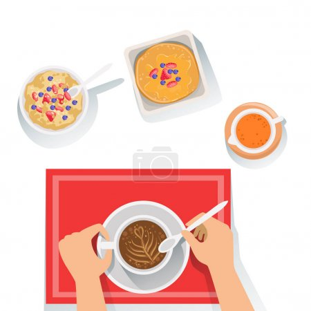 Illustration for Pancakes, Porridge And Coffee Classic Breakfast Food Products And Menu Items. Part Of Collection Of Usual Morning Meal Dishes Vector Cartoon Illustrations. - Royalty Free Image