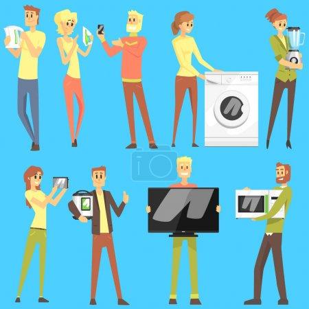 Happy Smiling People In Department Store Shopping pour l'équipement domestique Choisir des objets électroniques pour la maison Ensemble de personnages de bande dessinée