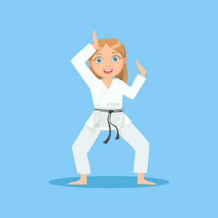 Girl In White Kimono Demontrating Starting Stance On Karate Martial Art Sports Training Cute Smiling Cartoon Character
