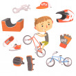 Постер, плакат: Boy BMX Bike Rider Kids Future Dream Professional Occupation Illustration With Related To Profession Objects