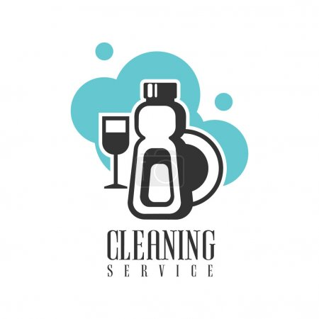 House And Office Cleaning Service Hire Logo Template With Dishes And Chemicals For Professional Cleaners Help For The Housekeeping