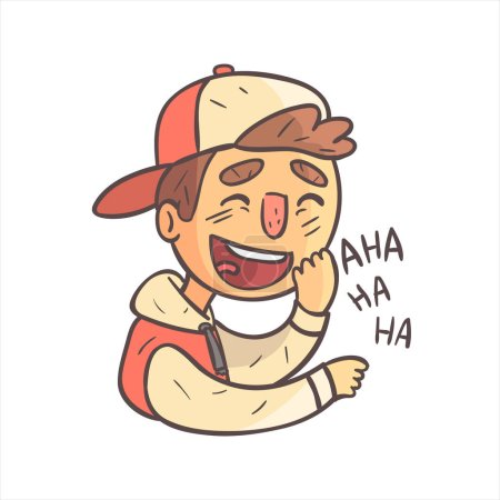 Illustration for Laughing Boy In Cap And College Jacket Hand Drawn Emoji Cool Outlined Portrait. Part Of Funky Flat Vector Sticker Series With Teenager Different Emotional Facial Expressions In Comics Style. - Royalty Free Image