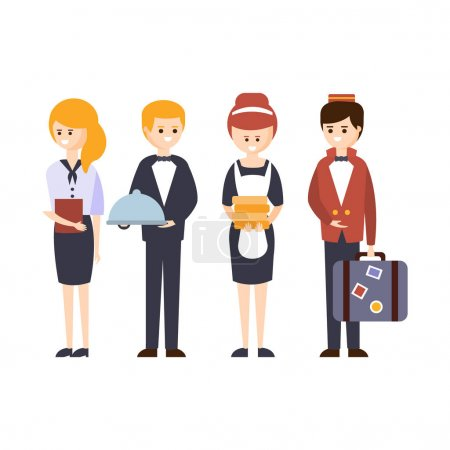Illustration for Hotel Staff, Waiter, Bellhop, Administrator And Maid Hotel Themed Primitive Cartoon Illustration. Part Of Inn Clients And Employees Collection Of Situations Vector Flat Drawings. - Royalty Free Image