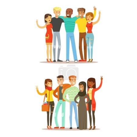Illustration pour Jeunes amis de partout dans le monde et heureuse illustration de dessin animé vectoriel de l'amitié internationale. Des gens de différentes nationalités souriant unis montrant geste de paix . - image libre de droit