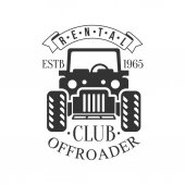 Offroader Off-Road Extreme Club And Rental Black And White Promo Label Design Template