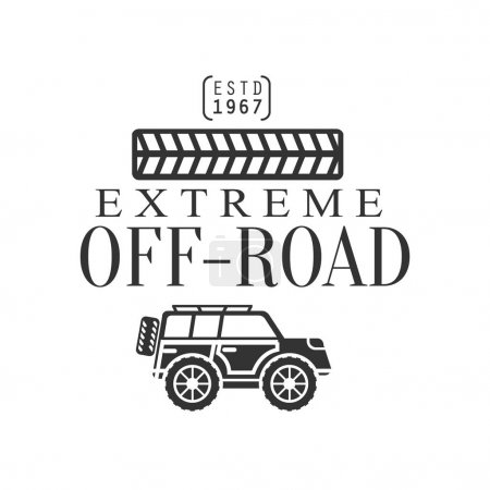 Off-Road Extreme Club And Rental Black And White Promo Label With Tire Print Design Template
