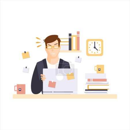 Angry Man Office Worker In Office Cubicle Having His Daily Routine Situation Cartoon Character