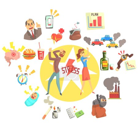 Stressed Man And Woman Surrounded With Different Stress Factors External And Lifestyle Related