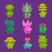 Alien Fantastic Plant Characters With Succulent Vegetation And Humanized Root With Friendly Faces Emoji Stickers Collection