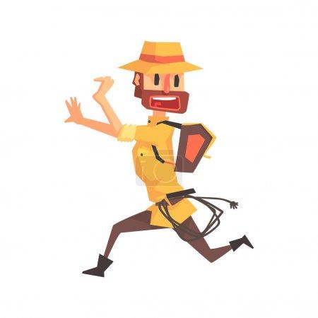 Illustration pour Aventurier archéologue en tenue Safari et chapeau en cours d'exécution Illustration de Funny Archeology Scientist Series. Cartoon Homme Indiana Jones Style Tombraider Dessin vectoriel de caractères . - image libre de droit