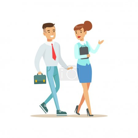 Colleagues Walking And Talking. Bank Service, Account Management And Financial Affairs Themed Vector Illustration