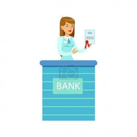 Woman Bank Employee With Official Paper. Bank Service, Account Management And Financial Affairs Themed Vector Illustration