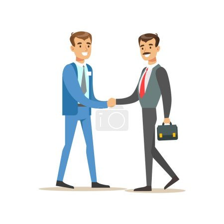 Bank Manager Meeting Handshaking With Important Client. Bank Service, Account Management And Financial Affairs Themed Vector Illustration