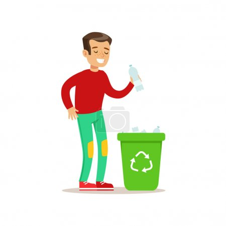 Boy Throwing Plastic Waste In Recycling Garbage Bin Smiling Cartoon Kid Character Helping With Housekeeping And Doing House Cleanup