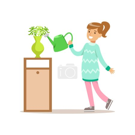 Girl Watering Home Plants Smiling Cartoon Kid Character Helping With Housekeeping And Doing House Cleanup