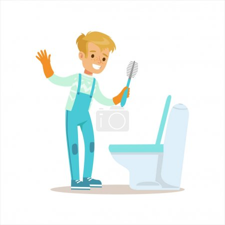 Boy In Gloves Cleaning Toilet With Brush Smiling Cartoon Kid Character Helping With Housekeeping And Doing House Cleanup