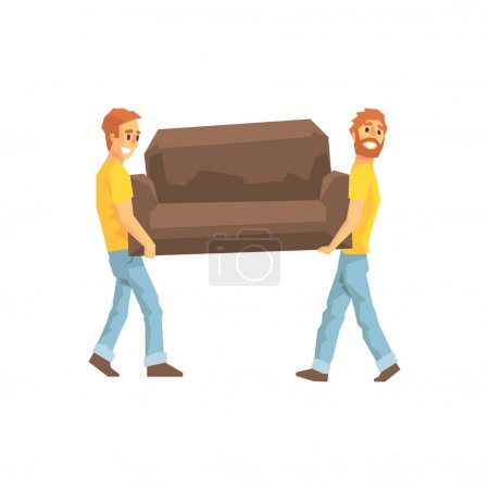 Two Movers Carrying Sofa For Ressetlement,Delivery Company Employees Delivering Shipments Illustration