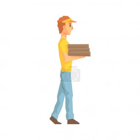 Illustration for Guy Carrying Pile Of Pizza Boxes, Delivery Company Employee Delivering Shipments Illustration. Part Of Manual Laborer Loading And Bringing Items Cartoon Characters Set. - Royalty Free Image
