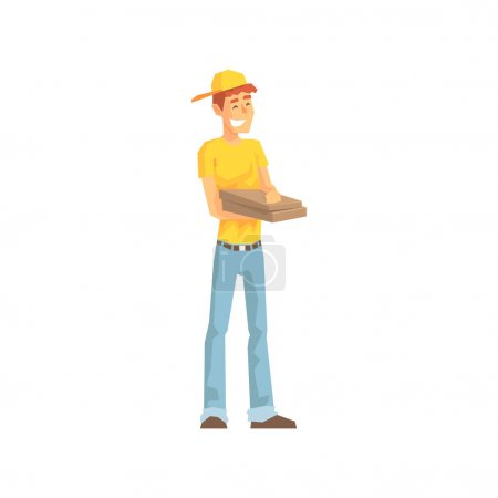 Smiling Guy With Pizza Box, Delivery Company Employee Delivering Shipments Illustration