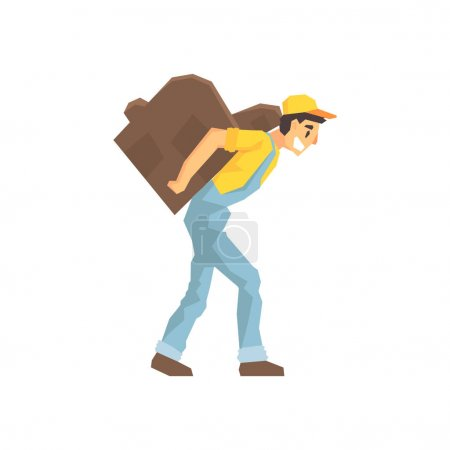 Worker Walking With Amchair On The Back, Delivery Company Employee Delivering Shipments Illustration