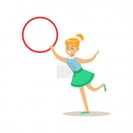 Girl With Hula-Hoop, Creative Child Practicing Arts In Art Class, Kids And Creativity Themed Illustration