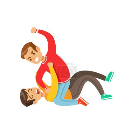 Two Boys Fist Fight Positions, Aggressive Bully In Long Sleeve Red Top Fighting Another Kid Laying On The Floor