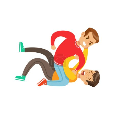 Two Boys Fist Fight Positions, Aggressive Bully In Long Sleeve Red Top Fighting Another Kid Pushing Him To The Ground