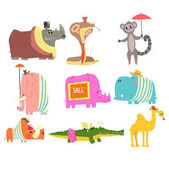 African Animals With Human Attributes And Clothing Collection Of Comic Cartoon Characters