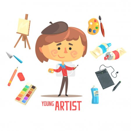 Illustration for Boy Artist Painter, Kids Future Dream Professional Occupation Illustration With Related To Profession Objects. Smiling Child Carton Character With Career Attributes Around Cute Vector Drawing. - Royalty Free Image