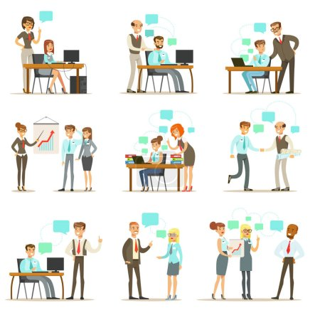 Illustration for Big Boss Managing And Supervising The Work Of Office Employees Set Of Top Manager And Workers Illustrations. Smiling Cartoon Characters Doing The Office Job Under Control Of Chief Executive. - Royalty Free Image