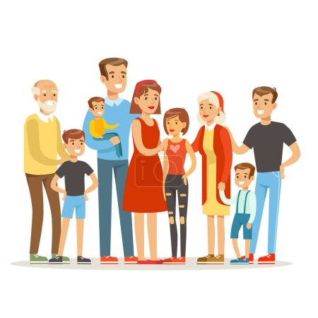 Happy Big Caucasian Family With Many Children Portrait With All The Kids And Babies And Tired Parents Colorful Illustration