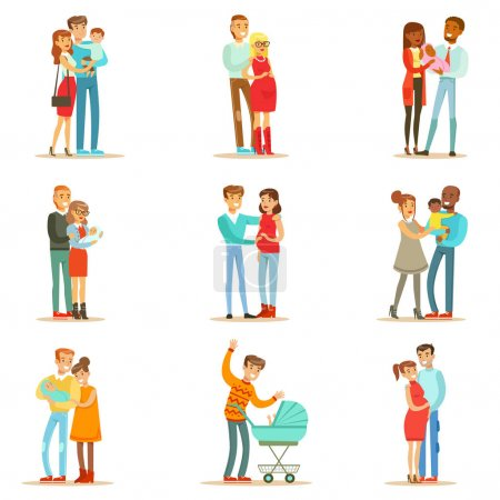 Young And Expecting Parents With Small Babies And Toddlers Set Of Happy Full Family Portraits.